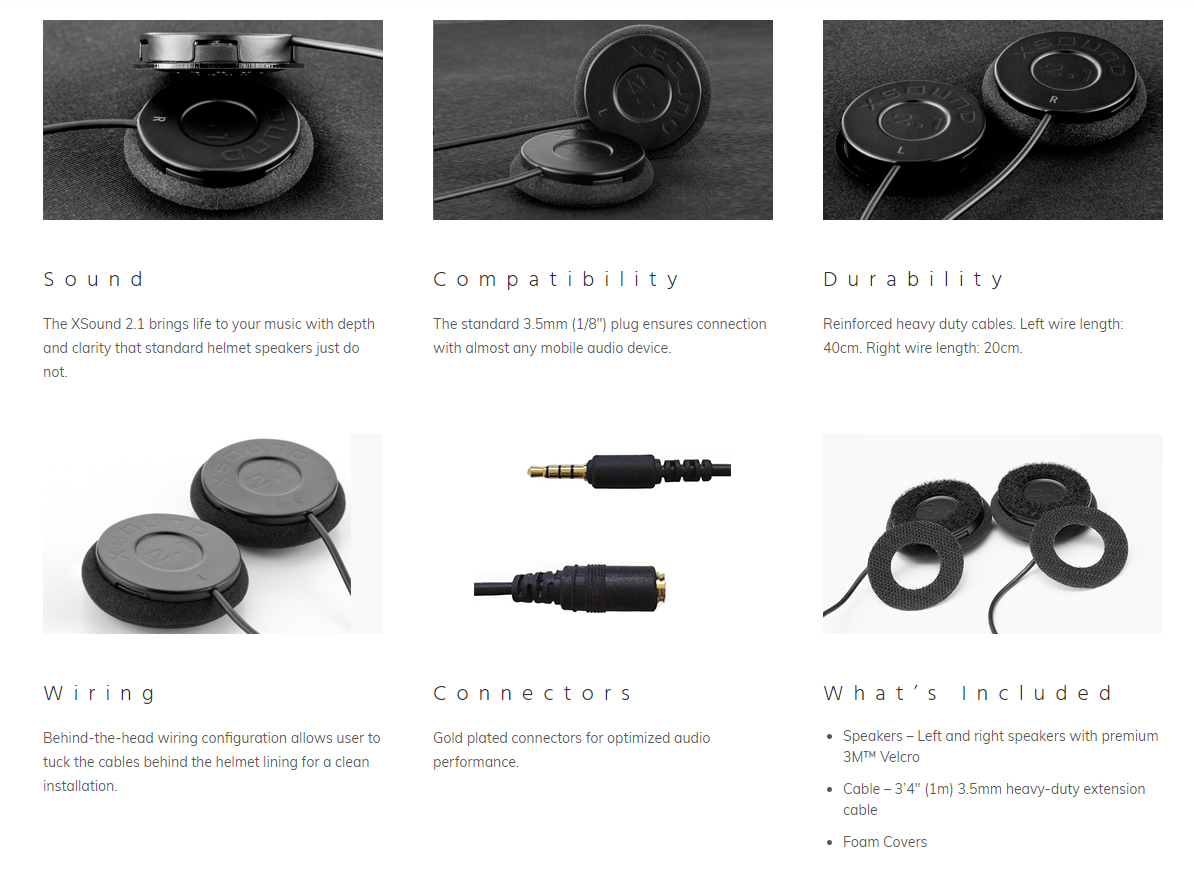 helmet speaker xsound 2.1 specifications