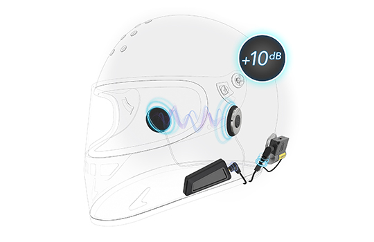portable helmet amplifier for sena cardo